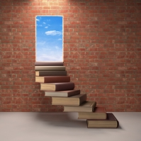 Books leading to a door in a brick wall.